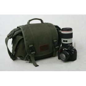 army green canvas SLR camera bag