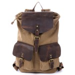 Drawstring Leather backpack, Three Magnetic button pockets canvas bag