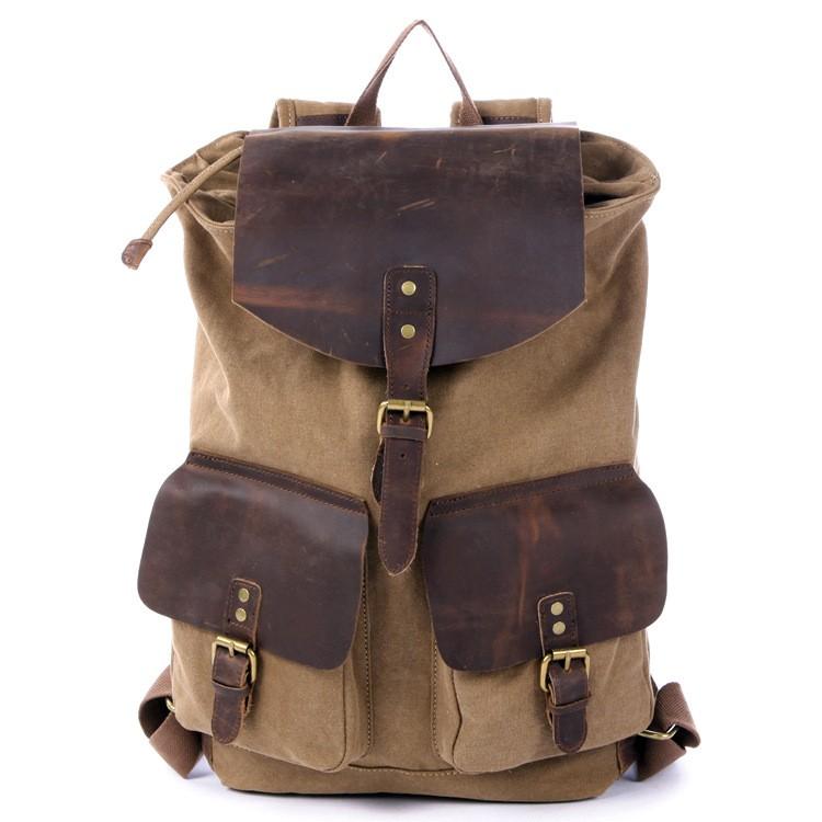 khaki Drawstring Leather backpack ... 75be8fdaee27f