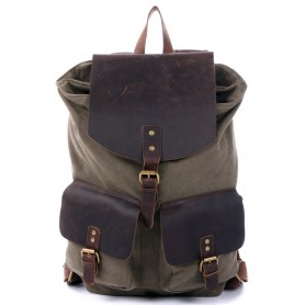 army green Drawstring Leather backpack