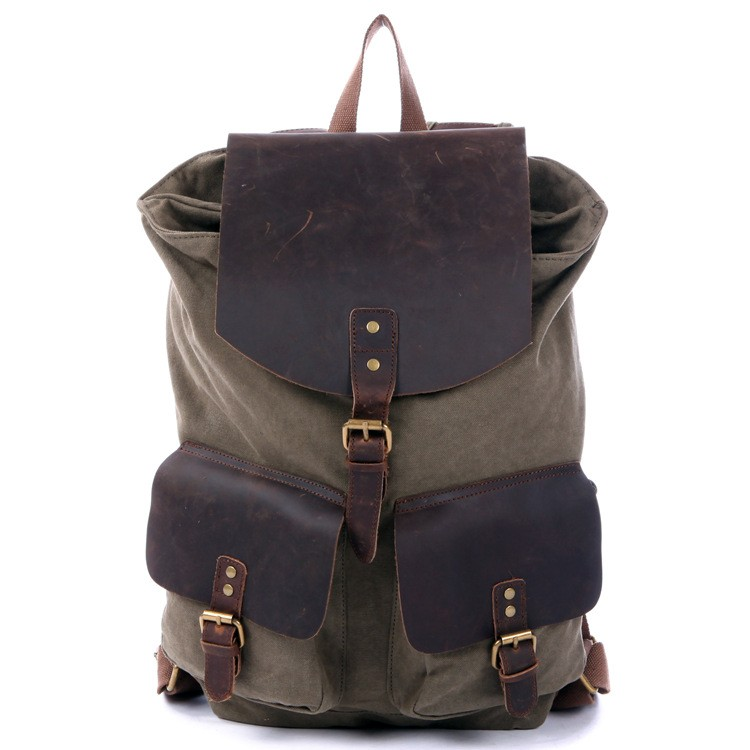 khaki Drawstring Leather backpack  army green Drawstring Leather backpack  ... 6ca84d99bed42