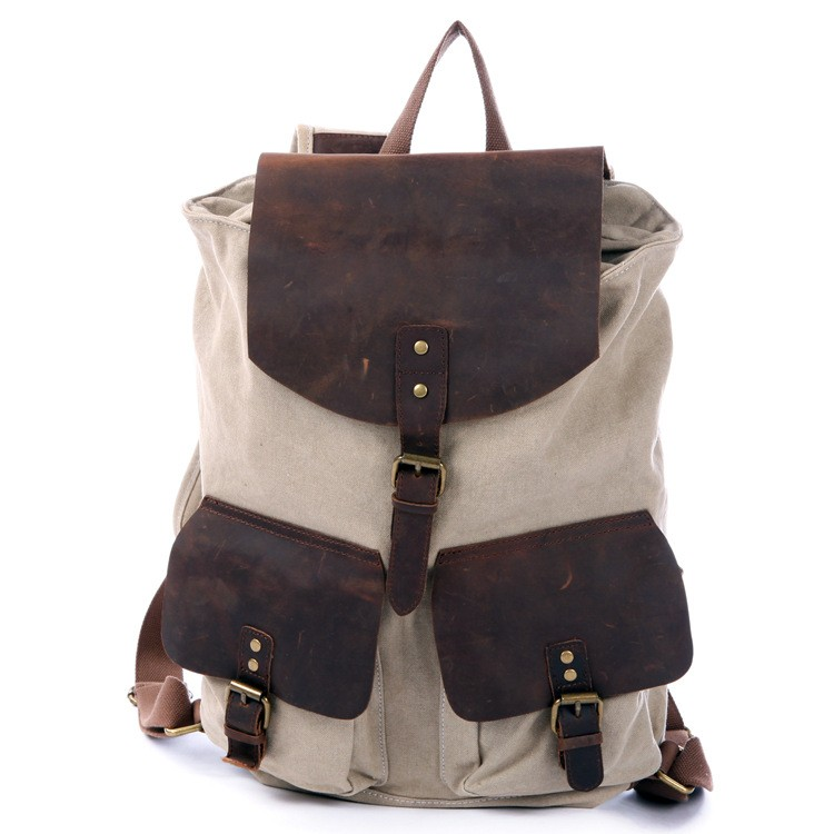 Drawstring Leather Backpack Three Magnetic Button Pockets