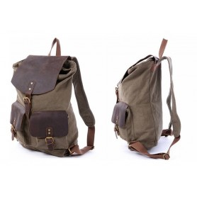army green Three Magnetic button pockets canvas bag