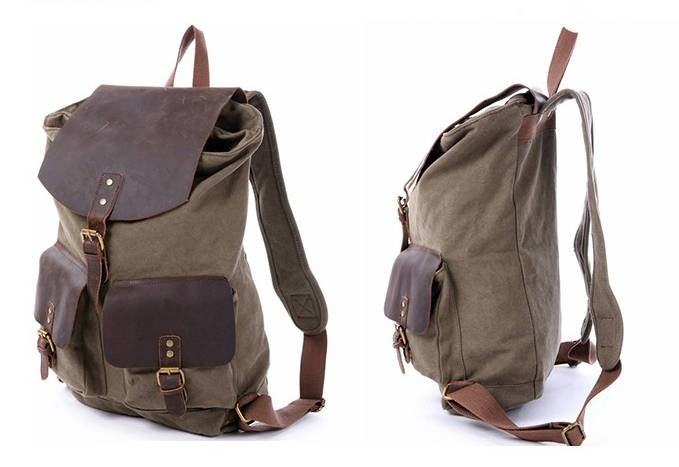 ... Leather backpack  army green Three Magnetic button pockets canvas bag  ... 105d0212bc445