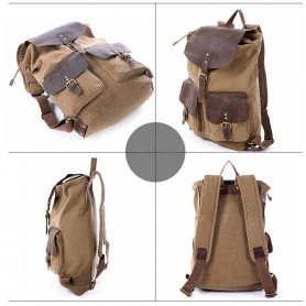 khaki Three Magnetic button pockets canvas bag