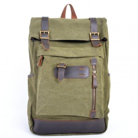 army green Genuine Leather Backpacks