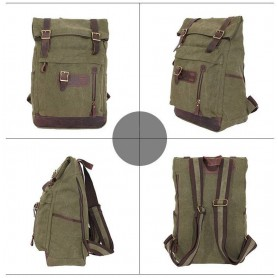 army green Leather Backpacks