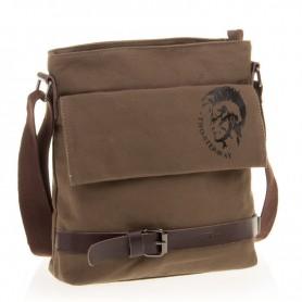 Mens school casual shoulder messenger bag coffee