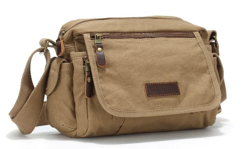 90f0c9d27 Canvas cross body bag, small messenger bag, black & army green - E ...