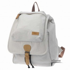 white canvas travel backpack