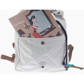 white School drawstring backpack