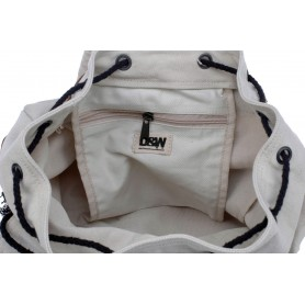 white canvas backpack