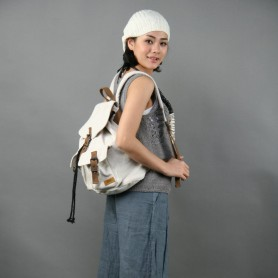 white canvas backpack for women