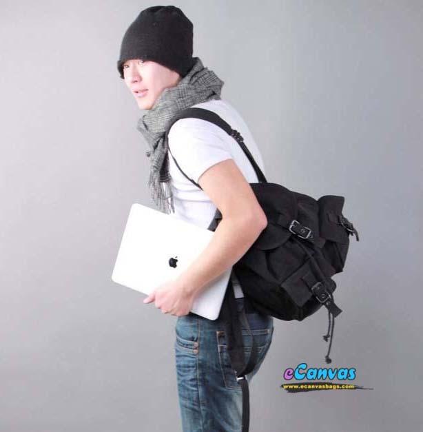 Bike backpack, canvas backpack for school, black & white - E ...