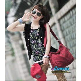 red Casual cotton cloth bag for women