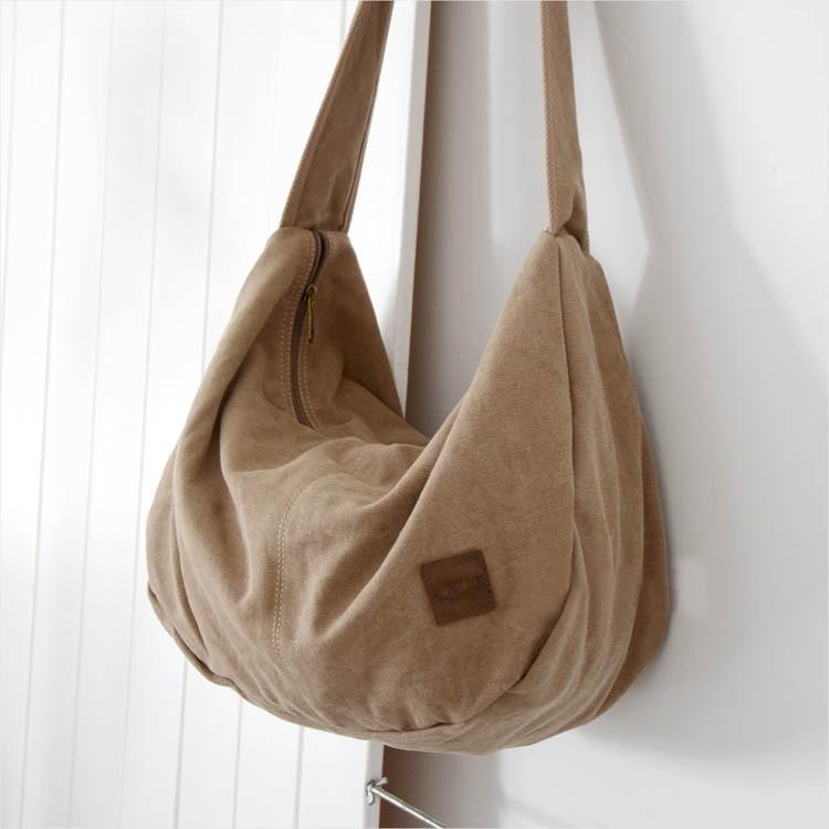 Classic elegant canvas bag, hobo bag, 3 colors - E-CanvasBags