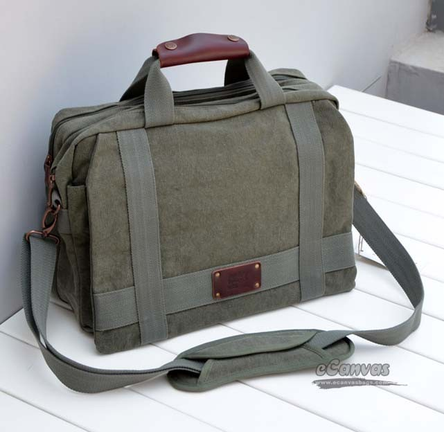 Man's canvas bag, laptop messenger bag, 3 colors - E-CanvasBags