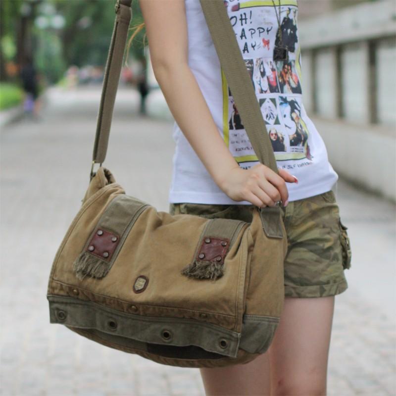 Cool messenger bag, side bag, satchel bag, grey & yellow - E ...
