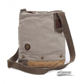 Vintage messenger bag, small messenger bag, grey & khaki