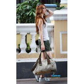 Canvas messenger shoulder bag for women