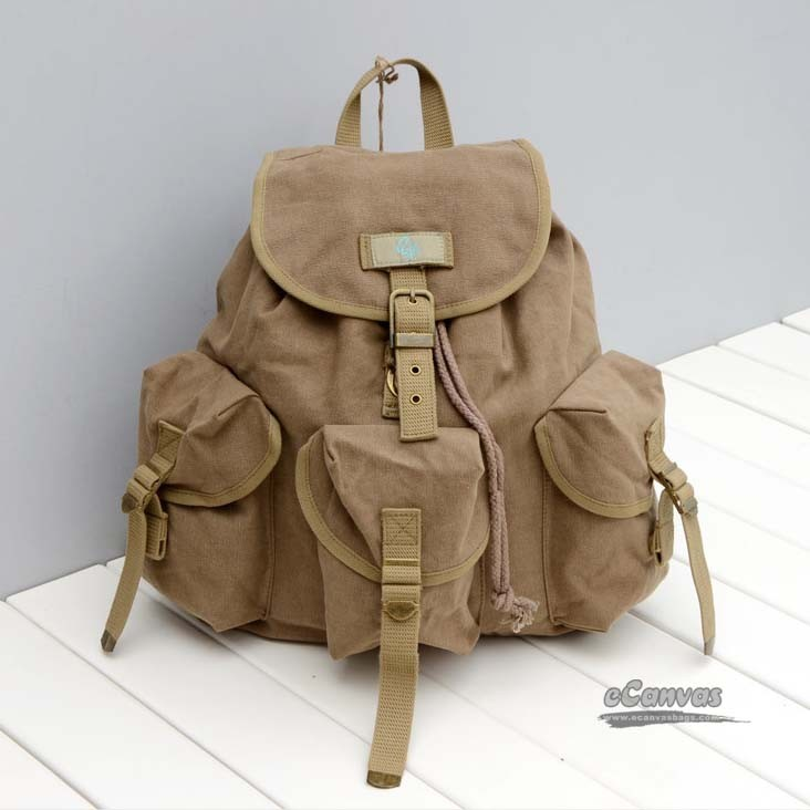 Khaki travel shoulder bags, women travel bags - E-CanvasBags