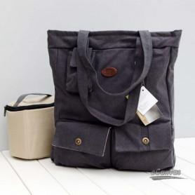 Dark grey camera bag, computer handbag