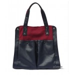 dark blue canvas leather bag
