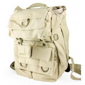 beige Camera backpack with tripod holder
