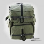 army green Canvas DSLR backpack with rain cover