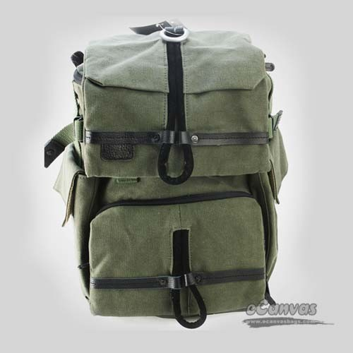 army green Canvas DSLR backpack with rain cover ...