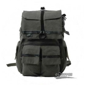 dark grey Canvas DSLR backpack with rain cover