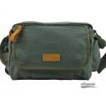 Canvas cross body bag, small messenger bag, black & army green