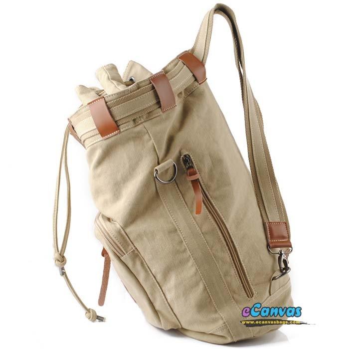 Organic Canvas Backpack Duffel Bag, bucket retro bags, khaki u0026 black ...