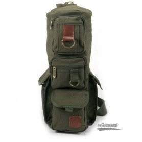 Military Inspired canvas sling backpack, tactical shoulder go pack bag