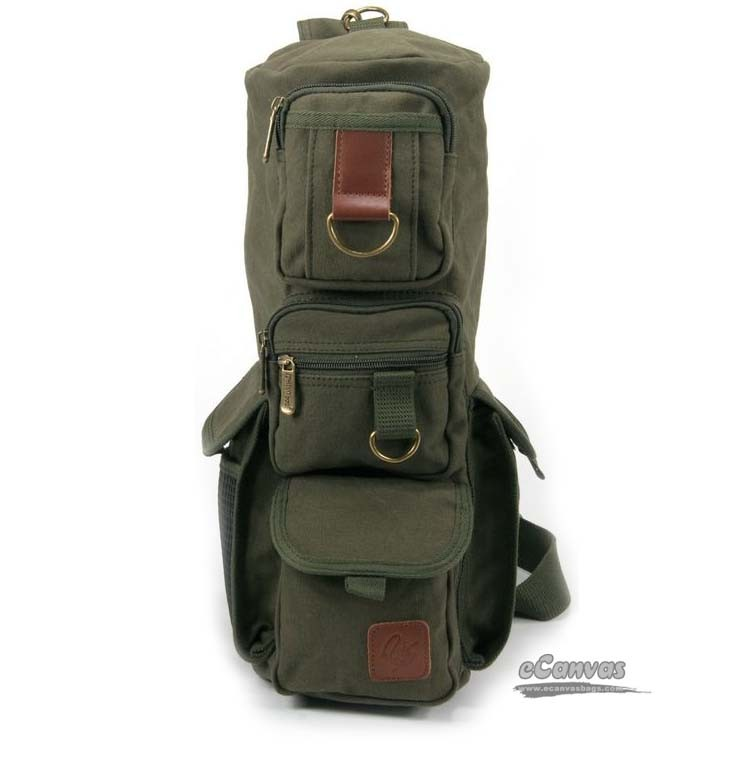 eab01dacce0b Military Inspired canvas sling backpack