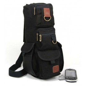 black Military Inspired canvas sling backpack