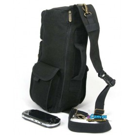 black canvas sling backpack