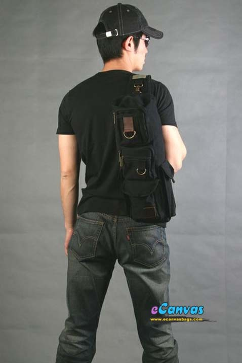Military Inspired Canvas Sling Backpack Tactical Shoulder
