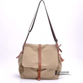 Retro book bag, couples messenger bag, khaki & black