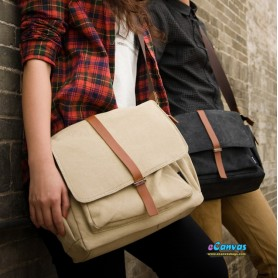 khaki & black messenger bag