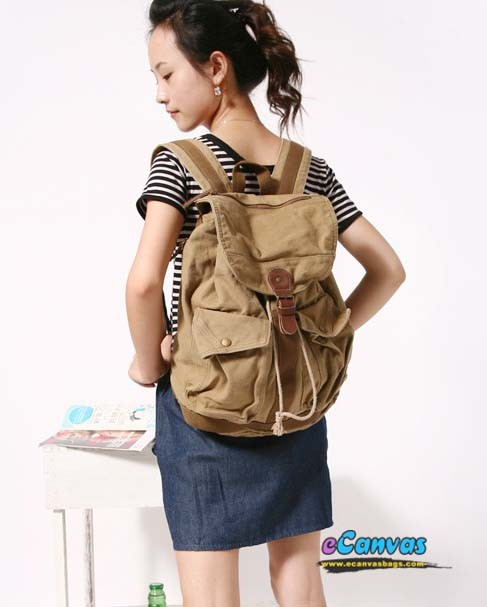 Personalized backpack, best backpack, khaki & black - E-CanvasBags