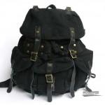 Heavy duty backpack, khaki overnight travel bag, black vintage backpack