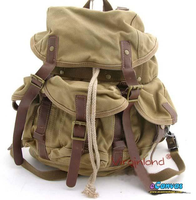 Heavy Duty Backpack Khaki Overnight Travel Bag Black