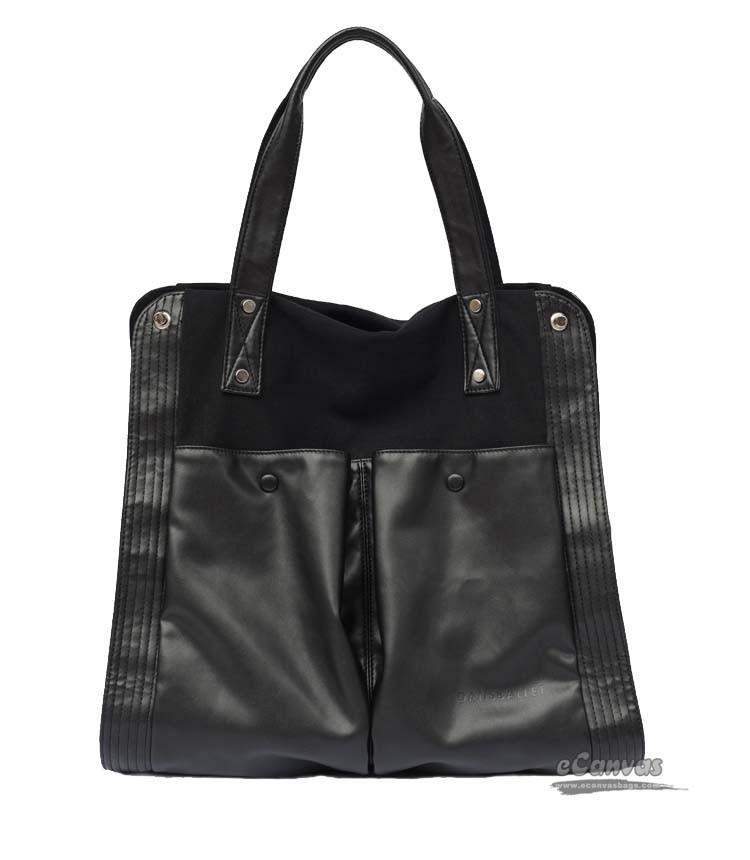 black canvas leather bag