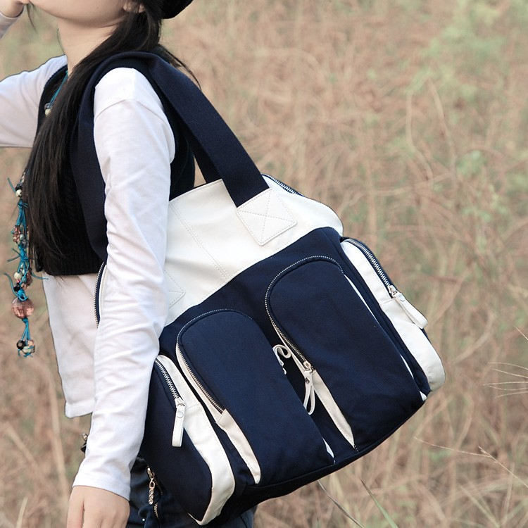 Blue Canvas Big Pu Bag