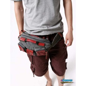 RED canvas waistpack for men