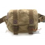 KHAKI Canvas fanny pack with genuine leather trim