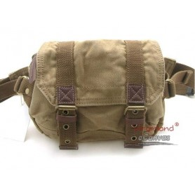 Canvas fanny pack with genuine leather trim, waist pack, 4 colors