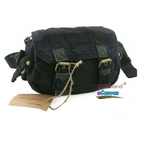BLACK Canvas fanny pack with genuine leather trim