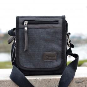 Canvas shoulder bag, business sling bag, black, coffee